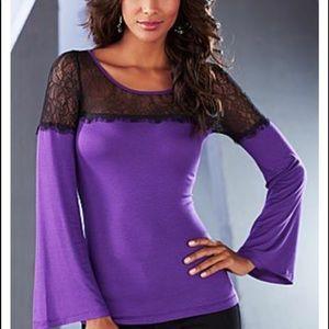 VENUS Purple Lace Detail Bell Sleeves Top Shirt